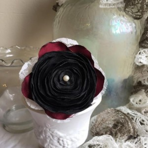Upcycled Victorian-look Black Rose Brooch
