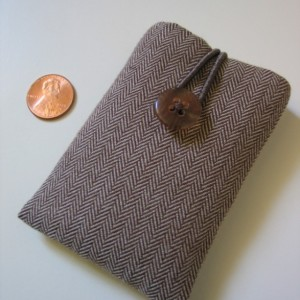 iPod nano case iPod nano sleeve brown-and-white Herringbone cotton fabric