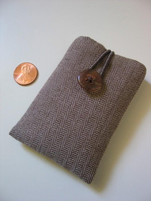 iPod nano case iPod nano sleeve brown-and-white Herringbone cotton fabric