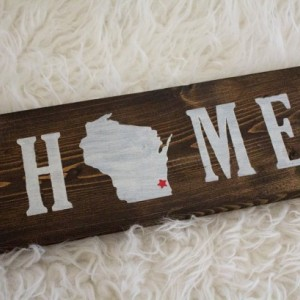 WI Home Wooden Sign 4x12~State Sign~Home Decor~Wisconsin~Wooden Sign