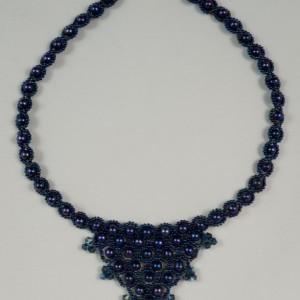 Violet blue freshwater pearl + Swarovski crystal beaded necklace. freshwater pearl + crystal necklace. blue iris Czech beaded pearl necklace