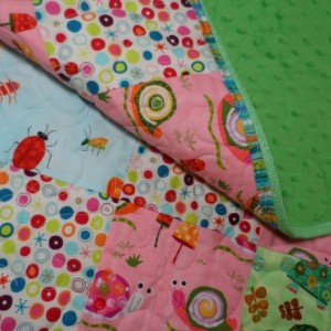 Modern baby quilt pinks and greens