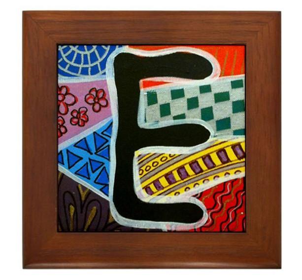 """Folk Art - Letter """"E"""" - FRAMED TILE By Artist A.V.Aposte"""