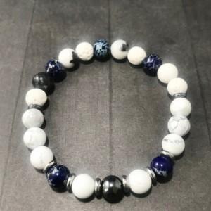 The Sawyer | handmade beaded stretch bracelet, howlite, zebra jade, hematite, blue jasper, stainless steel, men's / unisex, Gifts for Him