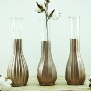 Wedding Vase Collection Set of 6 - Dipped Vases - Tall Vases - Copper Wedding - Rustic Glam Wedding  - Table Decorations - Copper Vases