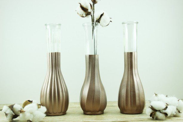 Copper Dipped Vase Collection Set Of 6 Wedding Centerpiece Aftcra