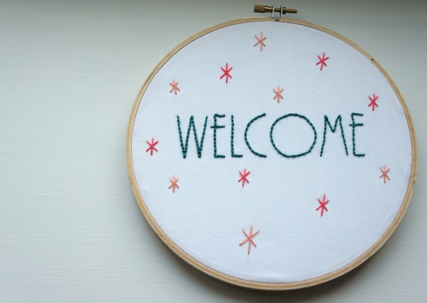 Welcome Embroidery Hoop Wall Art | aftcra