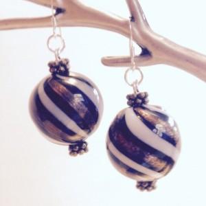 Gold Handblown Glass Beaded Earrings, Large Black Beaded Earring, Sterling Silver Earwire, White Handmade Dangle Earrings, Woman's Gift