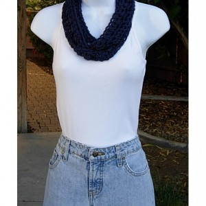 Women's Small Navy Blue Skinny SUMMER INFINITY SCARF, Solid Dark Blue Cowl, Soft Lightweight Crochet Knit Narrow Circle, Ready to Ship in 2 Days