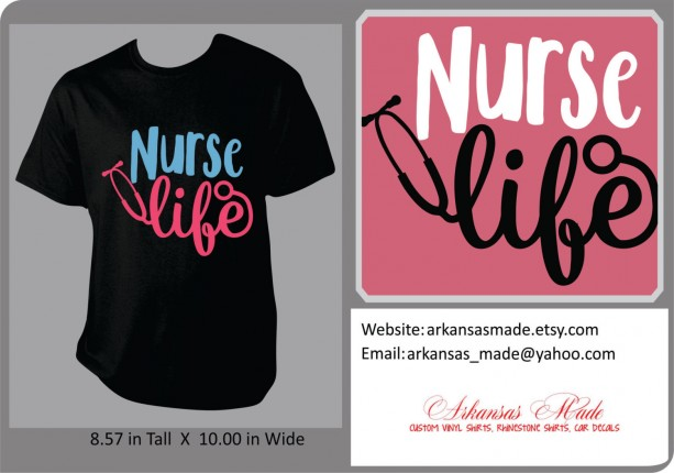 Nurse Life with stethoscope custom shirt, love nursing, heart nursing. RN LPN nurse shirt. Many colors to choose