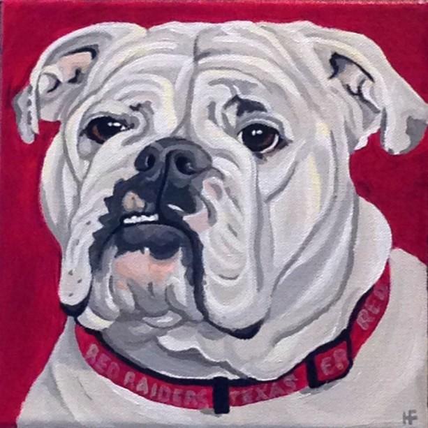 "Gracie the Bull Dog - Custom Pet Portrait 8"" x 8"" x 1.5"""