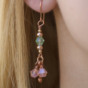 Green and Peach, Charms, Rose Gold and Copper Earrings