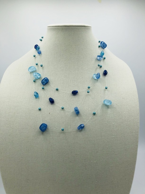 Triple Strand Floating Bead Necklace