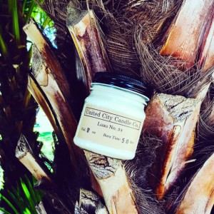 Luau No. 34 -- This Hawaiian celebration with sweet mangoes and papayas.100% soy candle. United City Candle Co Made in USA