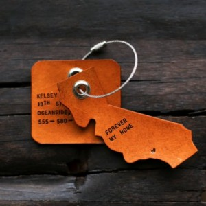 Leather Luggage Tags, Custom State Luggage Tags (Tan Color)