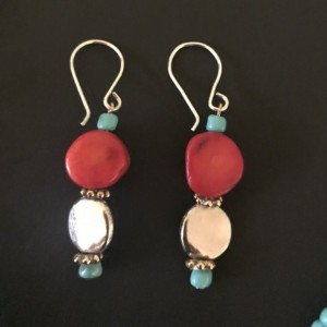 - Bamboo Coral, Antique Silver And Turquoise Glass Beaded Jewelry Set