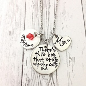 Mothers day gift for mom, theres this boy, mothers necklace, stole my heart, mom of boys, personalized name necklace, Valentine's Day gift