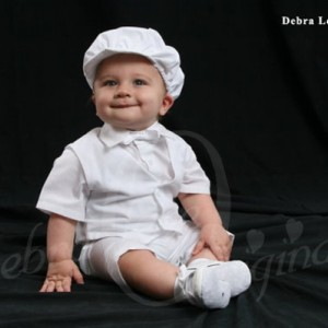 Baby Boy White Christening Blessing Vest Short and Short Sleeve Outfit