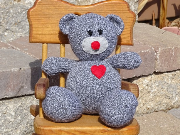 Teddy Bear, Hand Knitted Toy, Grey Bear, Kids Toy, Stuffed Animal, Toy with Heart