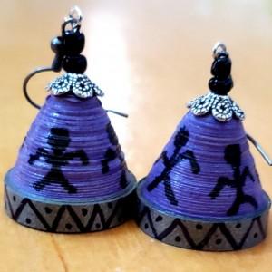 Purple Warli Dome Earrings