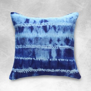 "18 x 18"" Indigo Shibori Pillow case, Indonesian ""Shibori Avani II"""