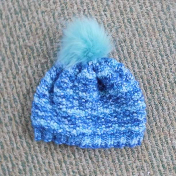 Shades of Blue Toddler Hat w/ Faux Fur Pom Pom