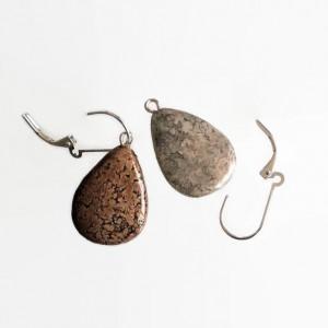Teardrop Earrings Textured Stone REVERSIBLE Gray and Brown 2 looks in 1 pair!