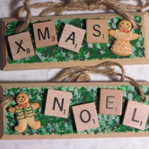 Set of 2 Scrabble® Game Tile Wooden Plaques Xmas & Noel