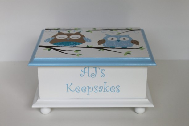 Blue and Brown Owl Baby Keepsake Memory Box personalized baby gift