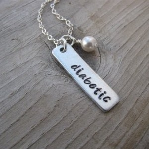 "Diabetic Necklace- Hand-Stamped Medical Alert Necklace-brushed silver rectangle "" diabetic"" and an accent bead of your choice"