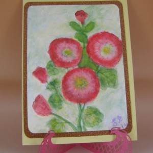 Hollyhock Watercolor Card