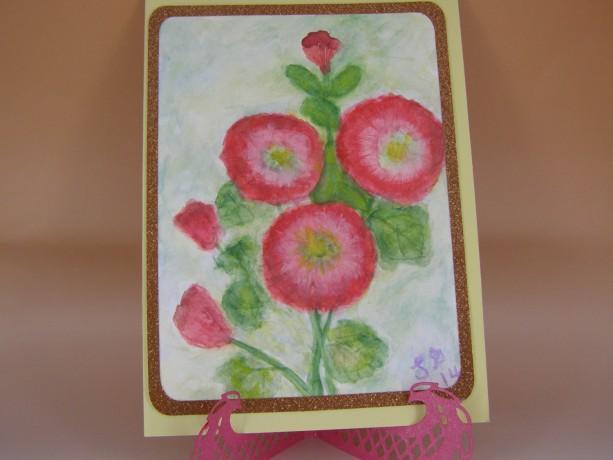 Hollyhock Watercolor Card
