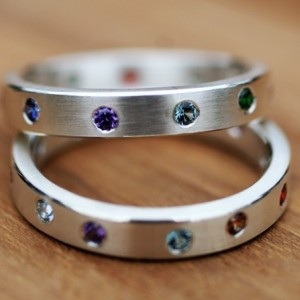 Gypsy set Sterling Silver Birthstone Eternity Band