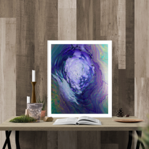 """Framed Acrylic Pour Painting on 16"""" X 20"""" Cradled Canvas"""