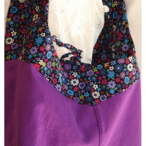 Purple flowered REVERSIBLE CORDUROY/FABRIC  Over the Shoulder Tote Bag with tie closure