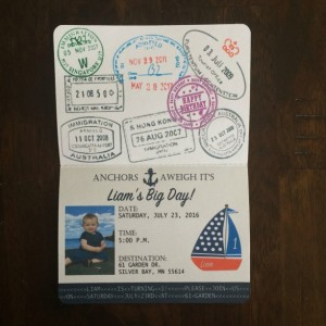 Passport, Nautical Birthday Invitations- Anchor invites- Sailing invitions- set of 15