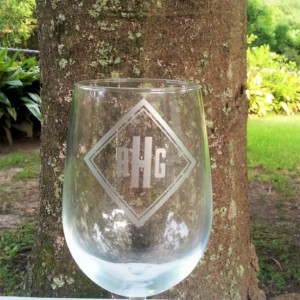 Monogrammed Wine Glass, Diamond Shaped Monogram, Etched Personalized Beer Glass, Cocktail Glass