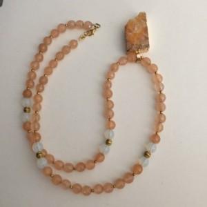 Gorgeous Peach Beaded Necklace, Druzy Pendant Necklace