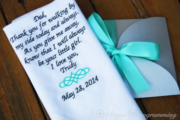 Embroidered Wedding Handkerchief for your Dad on your Beautiful Day! Father of the Bride. Lipton Design. FREE GIFT CASE!!