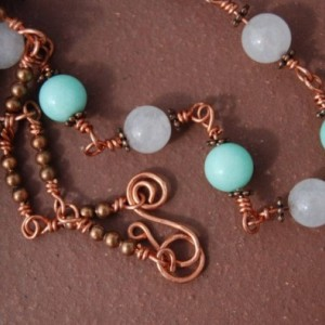 Copper Wire Necklace - White Jade and Turquoise Beads