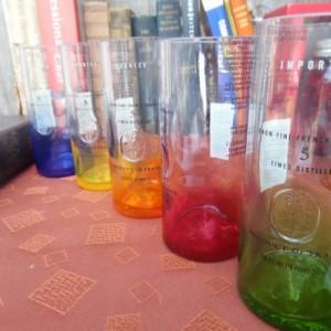 Unique Repurposed & Upcycled Ciroc Vodka Bottle Collins Glasses, set of 5