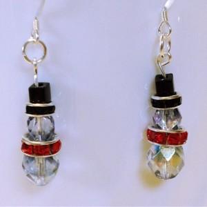 Snowman Earrings, Silver Snowman Dangle Earring, Christmas Jewelry, Winter Drop Chrystal Earrings, Christmas Gift for Her, Stocking Stuffer