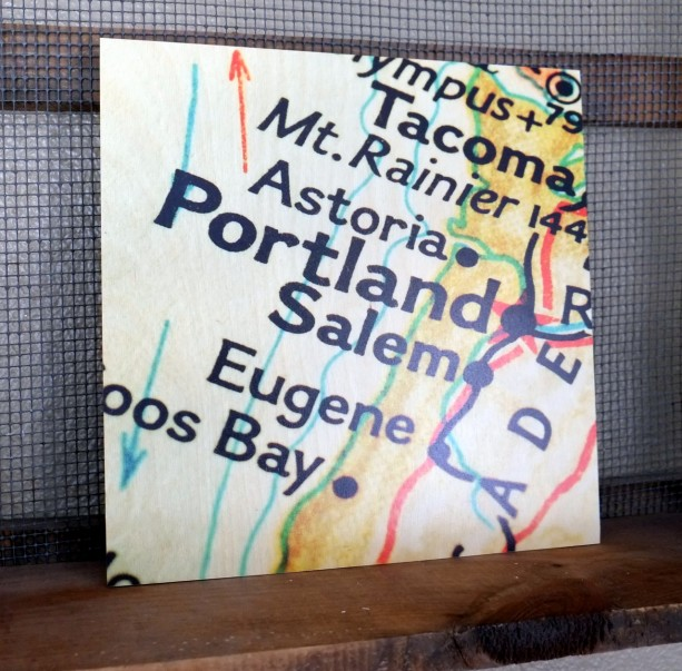 Portland Oregon 12x12 Wood Map Art