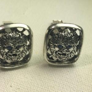 Lion Head sapphire sterling silver cufflinks
