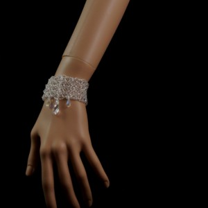 Swarovski crystal beaded bridal cuff bracelet. silver crystal cuff bracelet. crystal wedding bracelet. Swarovski pendant bridal bracelet