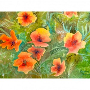 Orange Poppies Study, Print from Original Watercolor, 5x7