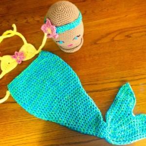 Mermaid Tail w/Bikini Top & Headband Baby Costume Photo Prop Set