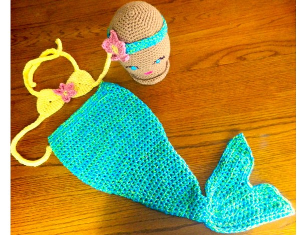 Mermaid Tail w/Bikini Top & Headband Baby Costume Photo Prop Set