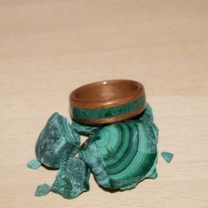 Hand Made ( Bentwood Method ) Cherry Inlayed Malachite Wooden Ring