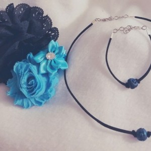 Black Suede and Blue Stone Bead Choker and Bracelet Set